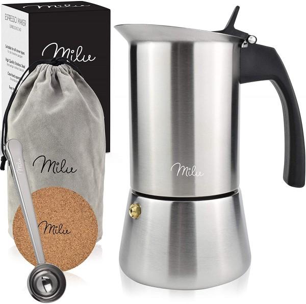 Milu Espressokocher (2 Cup No Induktion)   2, 4, 6 Tassen  Edelstahl Mokkakanne, Espressokanne, Espr