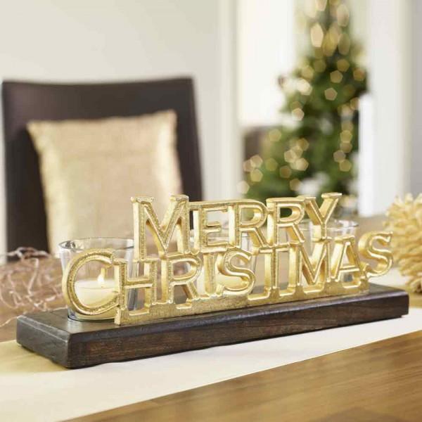 """Glas- Teelichthalter """"Merry Christmas"""" Schwarz, Goldfarbig"""