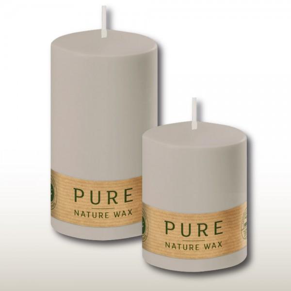 100% Natural Waxkerzen Stumpe Pure SC Silbergrau (12 Stück)