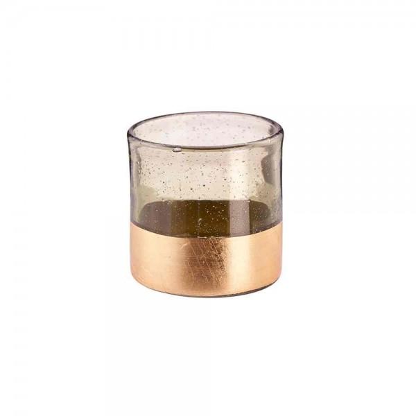 Glasteelicht mit Blasen & goldenem Rand Ø 8,5cm