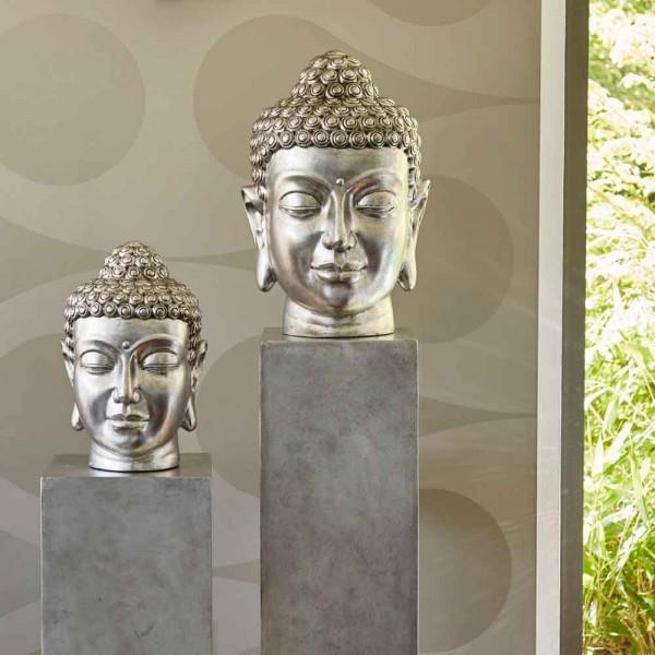 Buddhakopf aus Glasfaser (Silberfarbig)
