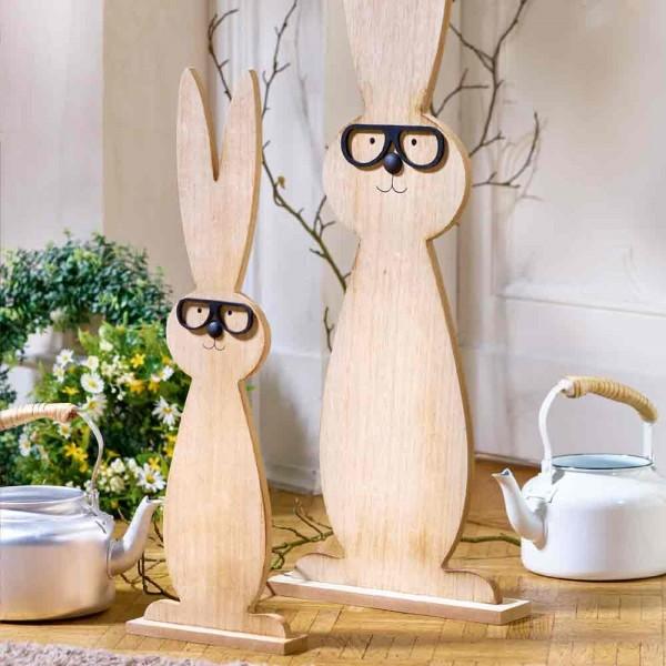 Hase mit Brille im Stehen aus Holz