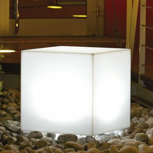 LED-Würfel Kunststoffleuchte Weiß/Transparent für Innen & Außen