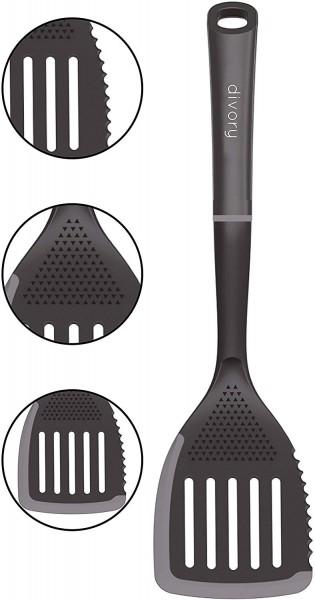 DIVORY Pfannenwender 3 in 1 I Küchenhelfer aus Silikon & Kunststoff I Schlitzwender Hitzebeständig I