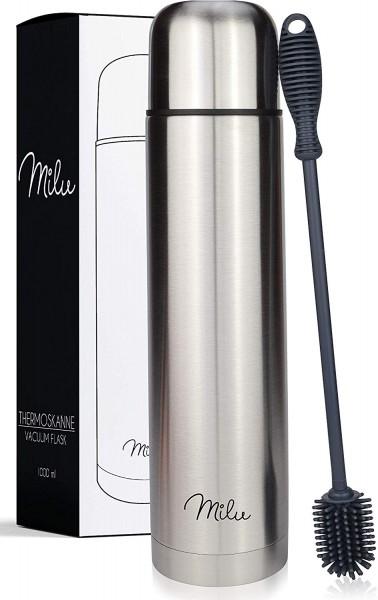 Milu Thermosflasche Thermoskanne Isolierflasche 1L - Isolierte Edelstahl Trinkflasche, 100% Auslaufs