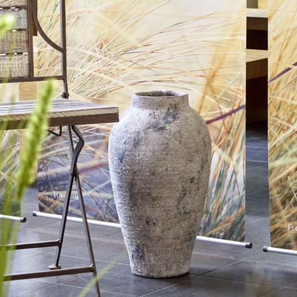 Keramik Amphore mit Griff (Rustikal Grau/Grün)