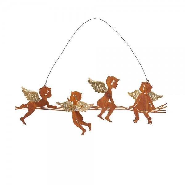 Hänger - Engel mit Glitterflügel aus Metall (41 x 6cm / Rostfarbig)