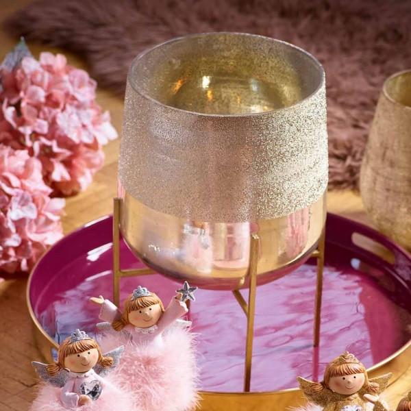 Übertopf Kerzenhalterung, Glas auf Metallfüßen, Gold