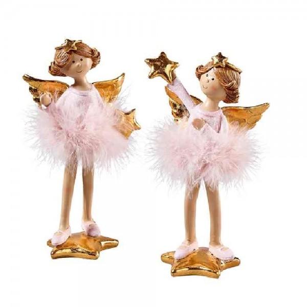 Engel mit Plüsch auf Stern stehend im Set