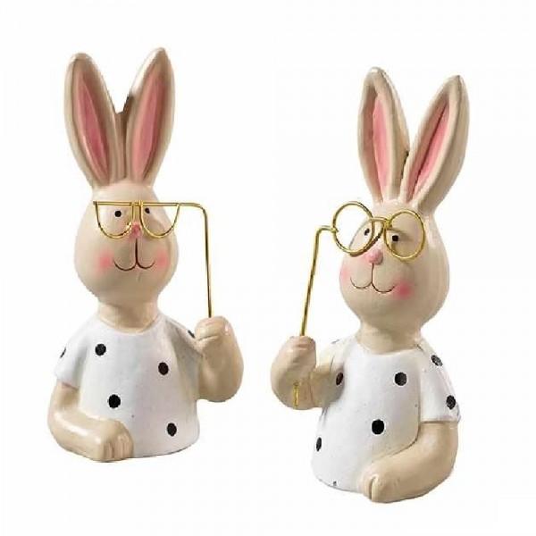 Hasen mit Prille im Set aus Keramik