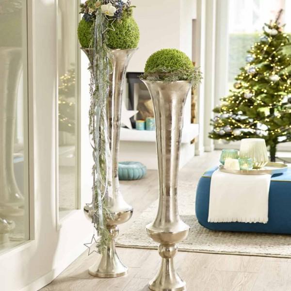 Design Vase Aluminium Silber hoch 137 cm