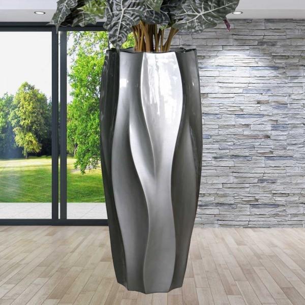 """Vase - Blumentopf im edlen Design """"Helix"""" aus Glasfaser in Lackgrau"""
