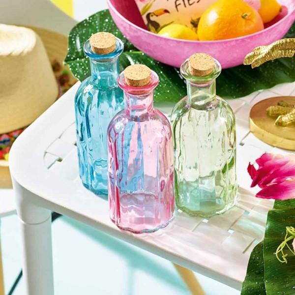 Glasflaschen mit Kork Pastellfarbig 6 Flaschen