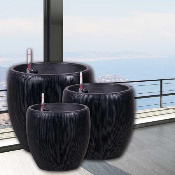 Helena – Vase Glasfaser, Blumenvase & Pflanztop in schwarz