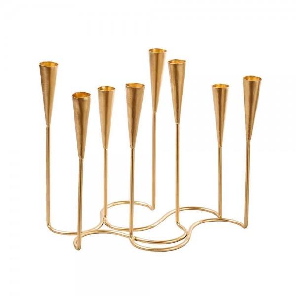 Kerzenständer aus Aluminium für 8 Kerzen in goldfarbiger Ausführung