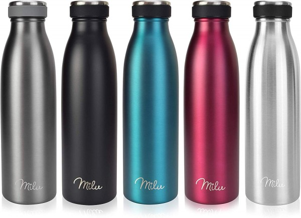Milu Thermoflasche 500ml, 750ml, 1000ml Isolierte Edelstahl Trinkflasche, Thermoskanne Auslaufsicher