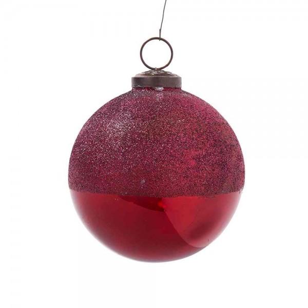 Glasweihnachtskugel mit Glitter in Rot 2 Stück