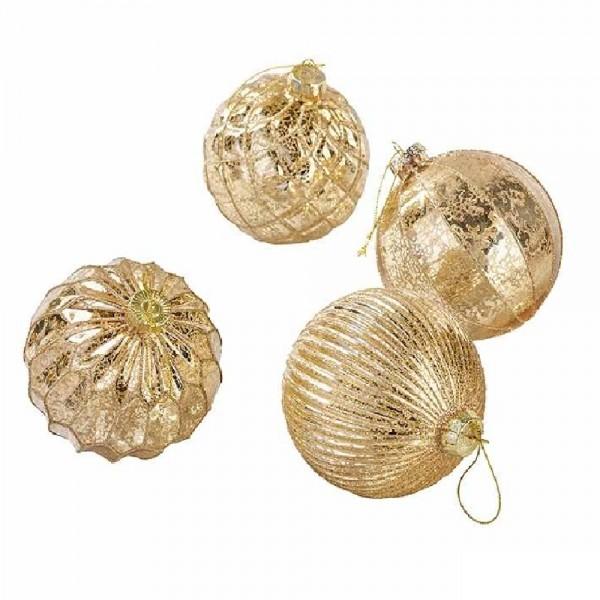 Weihnachtskugeln Baumschmuck Goldmix (12 Stück)