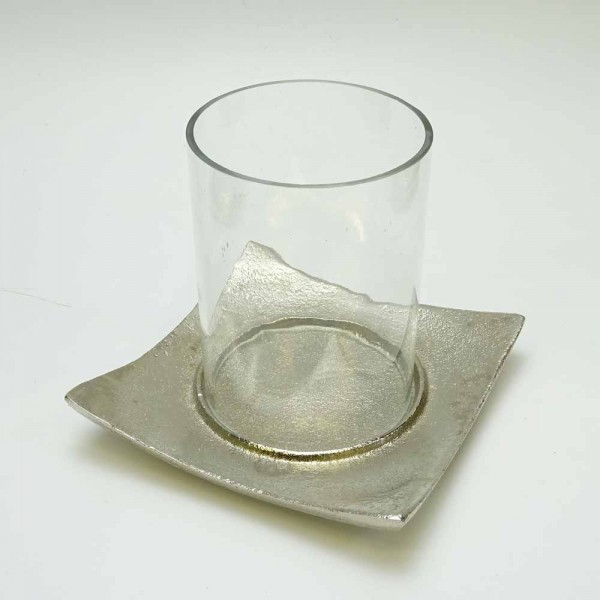 Glaswindlicht mit Metallteller in Silber H=10cm