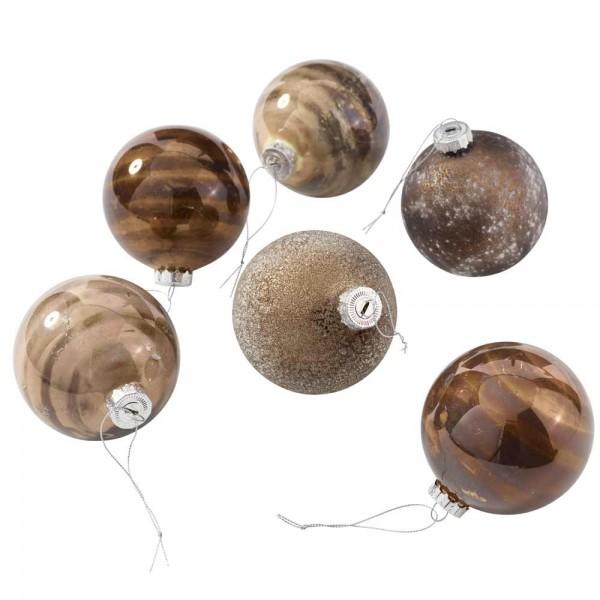 Weihnachtskugel aus Glas Ø8cm in Braun/Grün Mix (6 Stück)