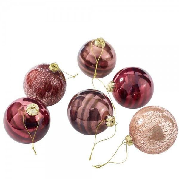 Weihnachtskugeln aus Glas Ø8cm Rosamix (6 Stück)