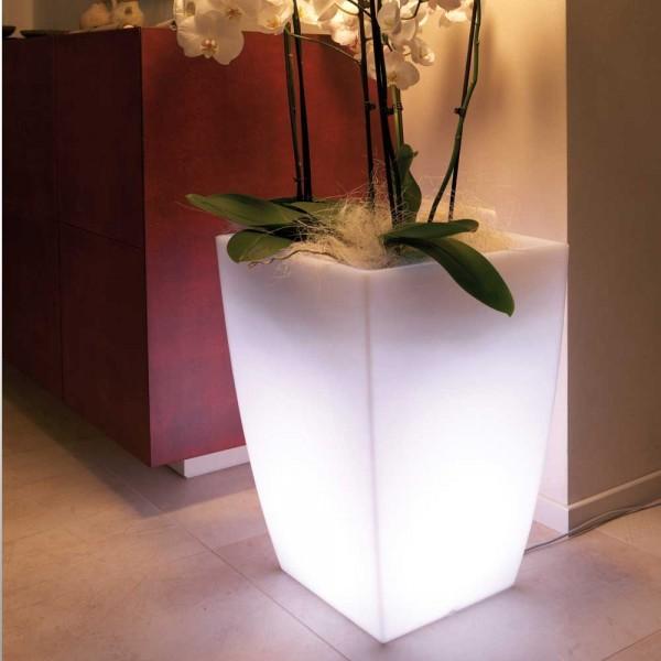 Vase Leucht Gefäß aus Kunststoff (Logos in Transparent/Weiß)