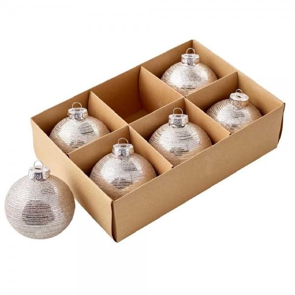 Glaskugel Gestreift mit Glitter Ø8cm Champagner (6 Stück)
