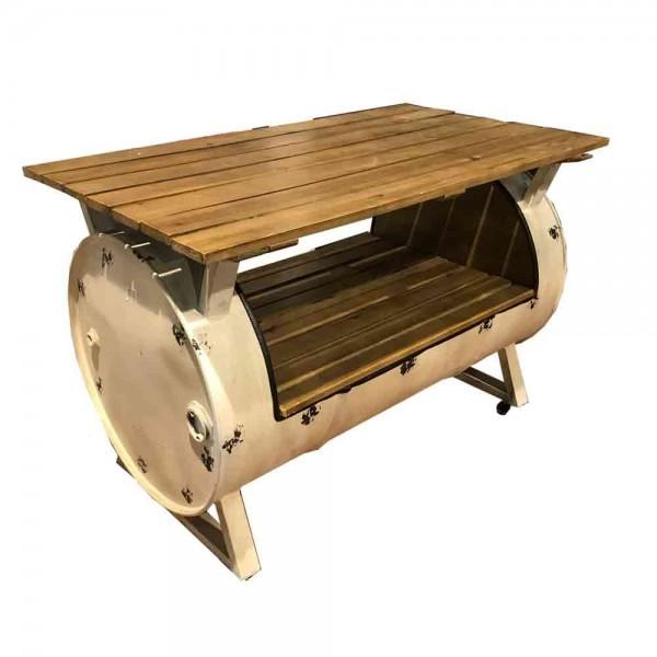 Tisch aus einer Tonne gefertigt (L=115cm/Creme)