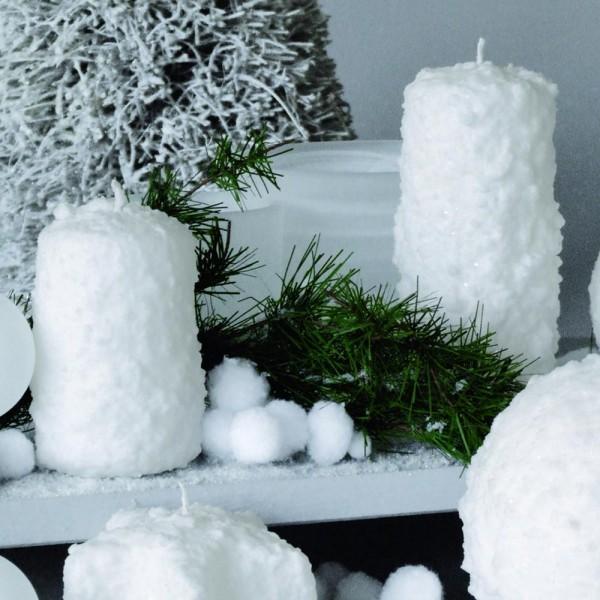 """Dekor Kerze """"Stumpe Schnee"""" SC Weiß 02 (4 Stück)"""