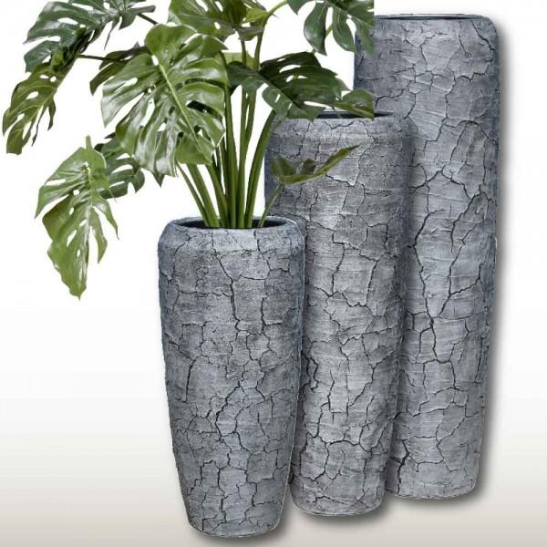 Vase Harmonia aus Glasfaser in Borkenoptik in drei Größen