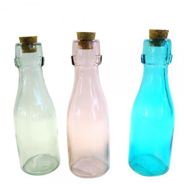 Glasflaschen mit Kork Pastellfarbig 12 Flaschen
