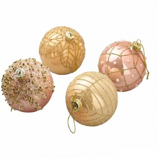 Weihnachtskugeln Baumschmuck in Gold/Pink (12 Stück)