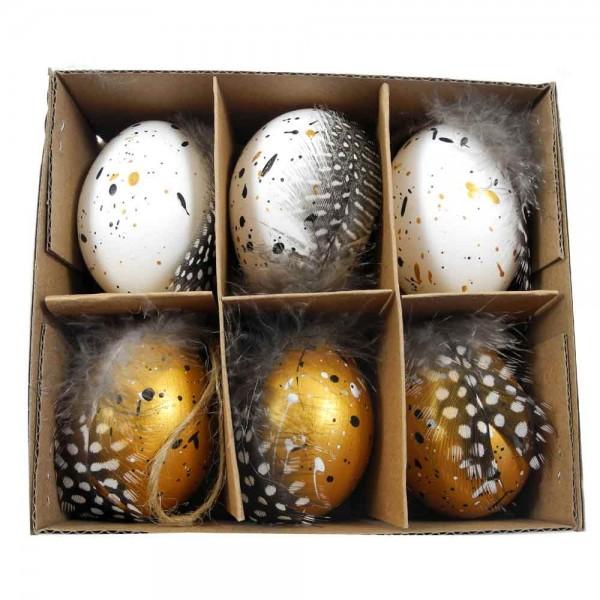 Enteneier mit Federn & Bemalung Natur in Weiß- und Goldfarbig 24 Stück