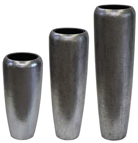 Glasfaser Vase Harmonia in drei Größen - Modern Silber