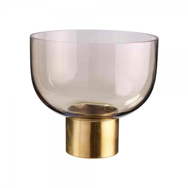 Glasschale auf Fuß Ø 17cm Goldschimmer