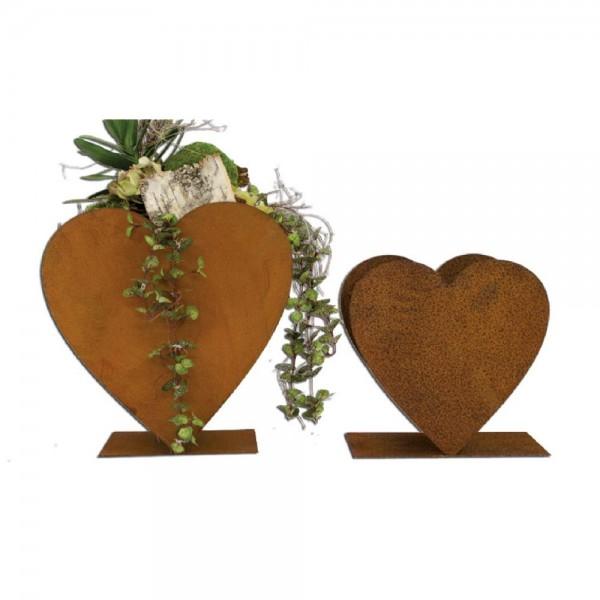 Herz zum bepflanzen aus Metall (auf Platte stehend)