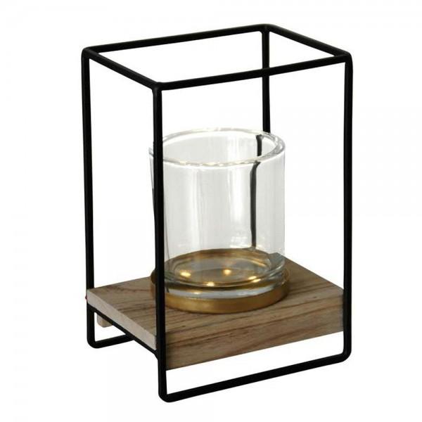 Windlicht aus Metall und Glas, Teelichthalter, Kerzenhalter, Kerzenständer, Kerzenleuchter
