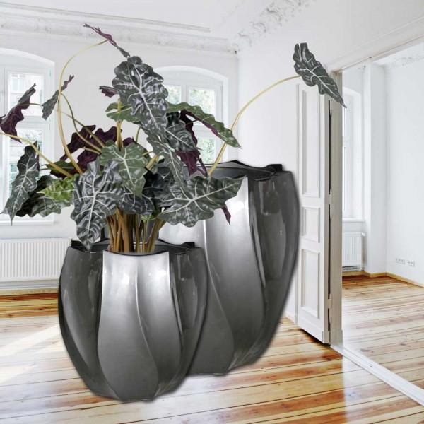"""Vase - Blumentopf im edlen Design """"Hydra"""" aus Glasfaser in Lackgrau"""