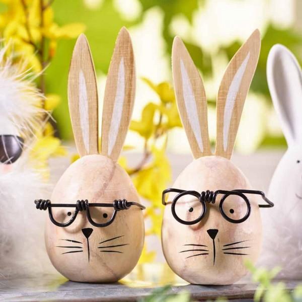 Hasenkopf mit Brille aus Holz (4 Stück)