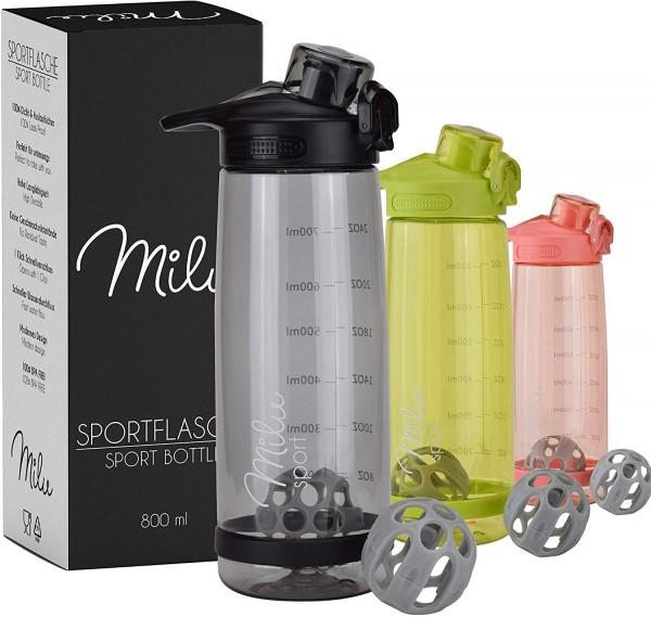 Milu 2 in 1 Trinkflasche & Eiweißshaker Auslaufsicher 800ml | Protein Shaker | Sportflasche | Wasser