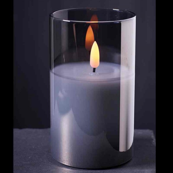 LED Kerzen im Glas mit Timer - 6 Stück (Grau / verschiedene Größen)