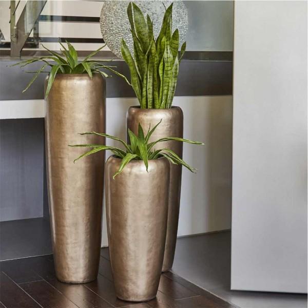 Glasfaser Vase Harmonia in drei Größen - Messingfarbig
