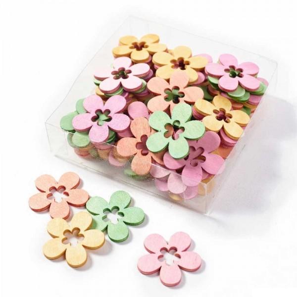Dekorative Blüten aus Holz zum Streuen, Streudeko (1 Box = 72 Stück)