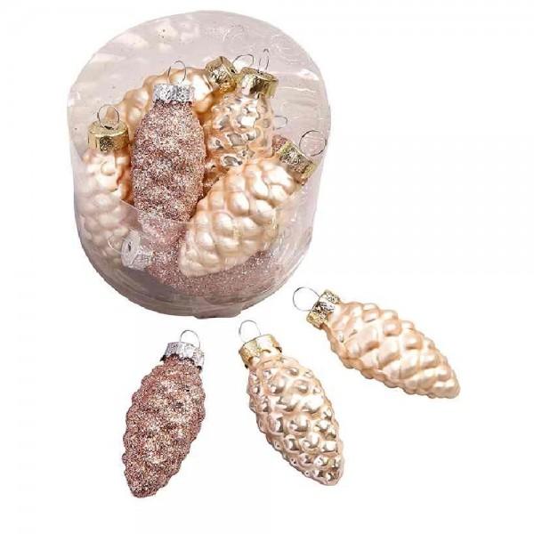 Glaszapfenhänger in Creme mit Glitter (24 Stück)