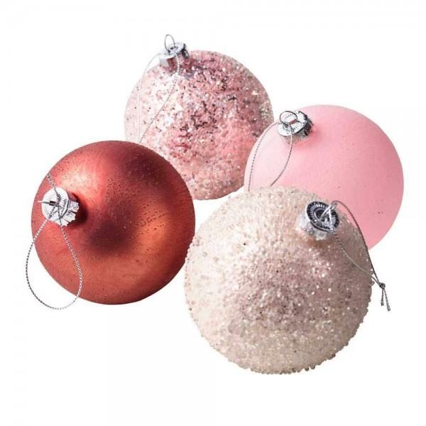 Weihnachtsbaumkugeln aus Glas in Pink/Burgund Ø8cm (4 Stück)