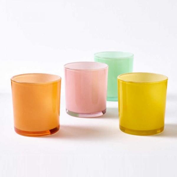 Glas für Teelichter im Set (4 Farben-Orange, Grau, Grün, Rosa)