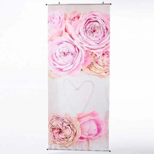 Deko Textilbanner für Frühling & Sommer – Fotoprint 175x73 – Stoffbanner mit Motiv Rose