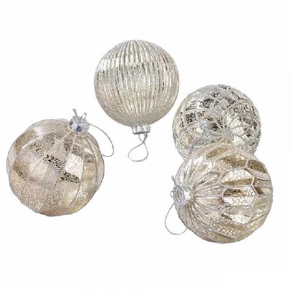 Weihnachtskugeln Baumschmuck in Silber Mix (12 Stück)