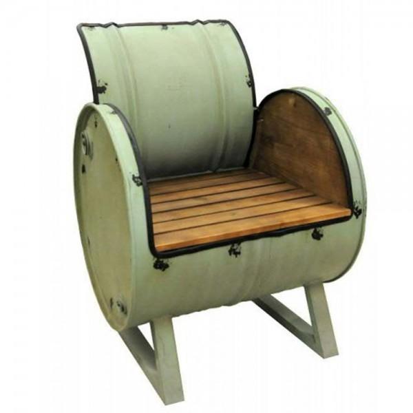 Sessel aus einer Tonne gefertigt (B=62cm/Grün)