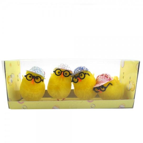 Küken mit Mütze & Brille 32 Stück (a/ 5cm)